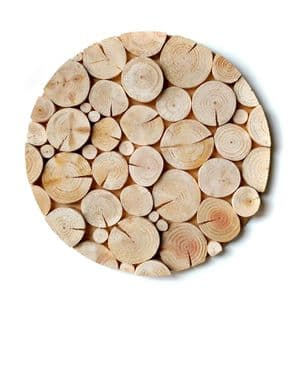 Log Wall Art - CIRCULAR MOSAIC in NATURAL WOOD