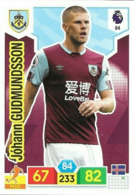 84. Johann Gudmundsson (Burnley Base Card / AXL PL 2019/20)