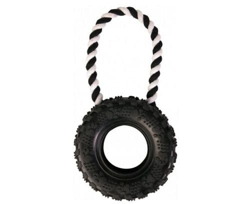 Trixie Treads Rubber Tyre Dog Toy - Rubber Tire Tread with Rope