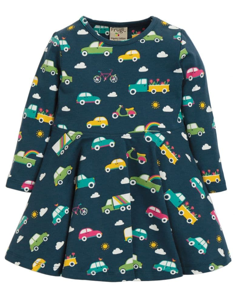 Frugi Space Blue Rainbow Roads Sofia Skater Dress