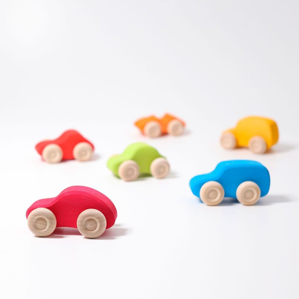 Grimms 6 Coloured Wooden Push Along Cars