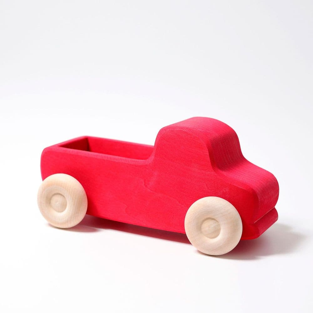 Grimms Large Red Wooden Push Along Truck