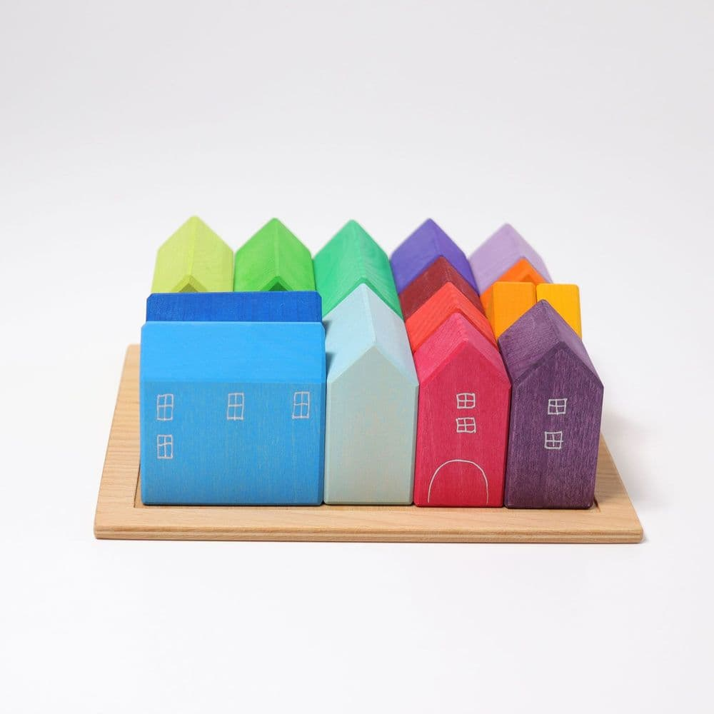 Grimms Small Wooden Rainbow Houses