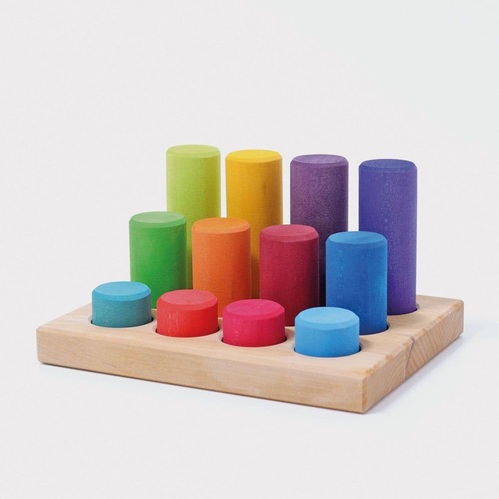 Grimms Small Wooden Stacking Game - Rainbow Rollers