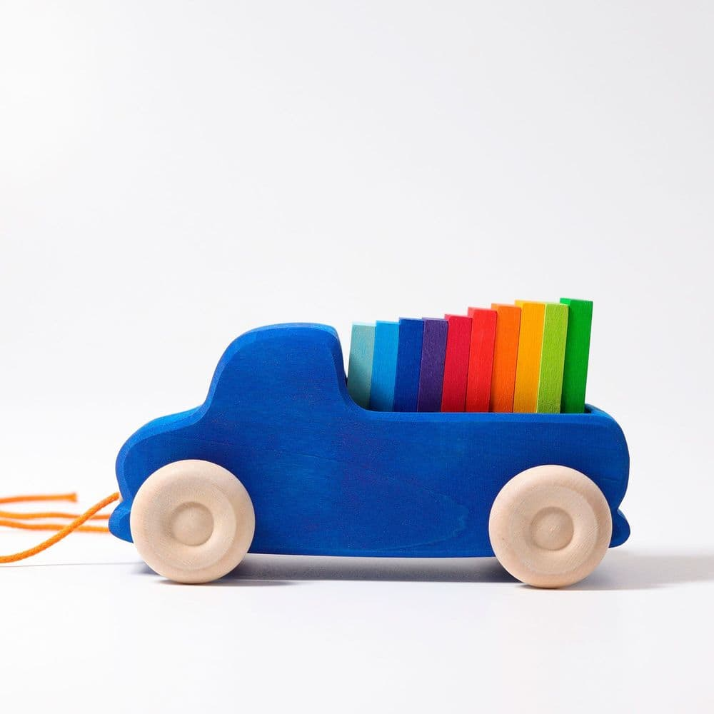 Grimms Wooden Blue Pull Along Truck With Wooden Blocks