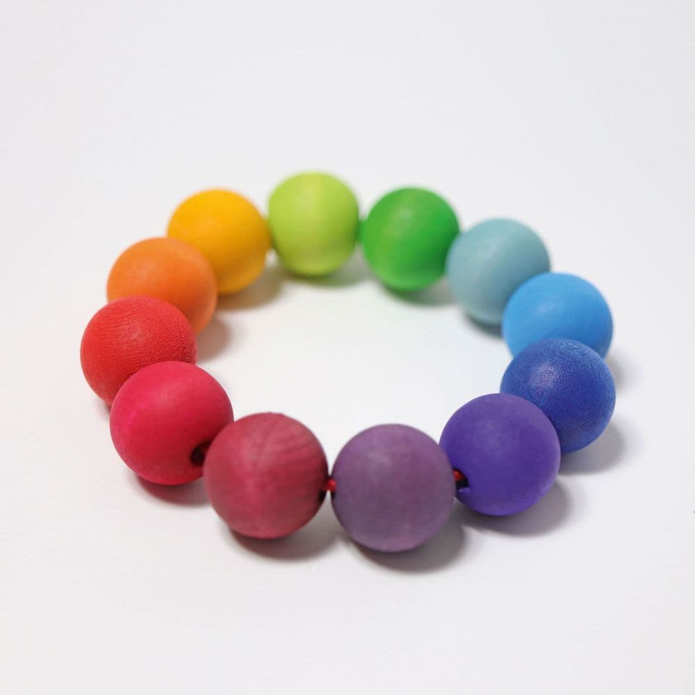 Grimms Wooden Grasping Toy Bead Ring - Rainbow