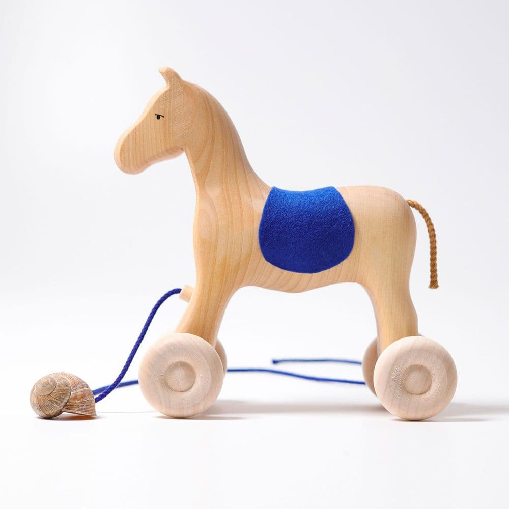 Grimms Wooden Pull Along Horse - Holly
