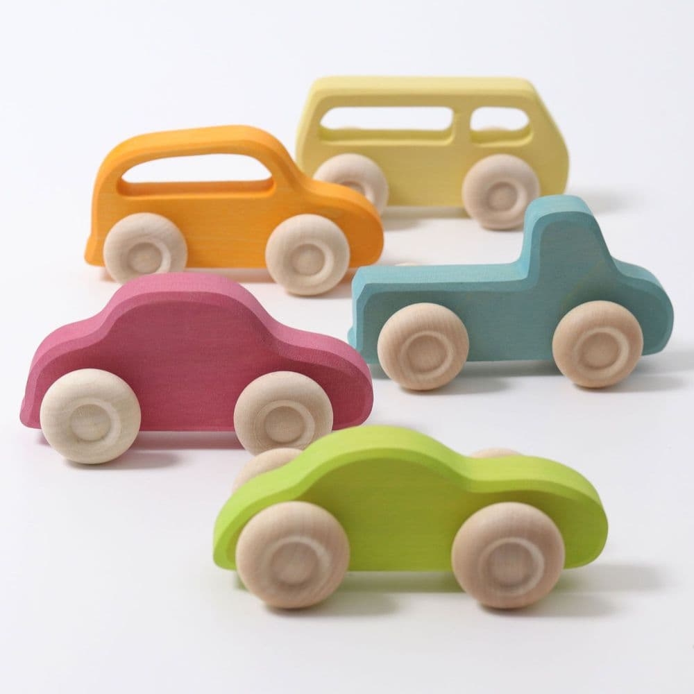 Grimms Wooden Slimline Push Along Toy Cars
