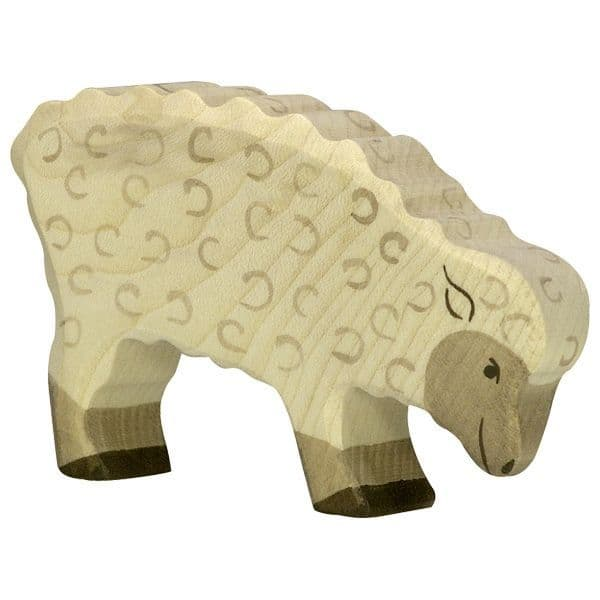 Holztiger Feeding Sheep Figure