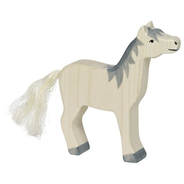 Holztiger Horse With Raised Head (Grey Mane)