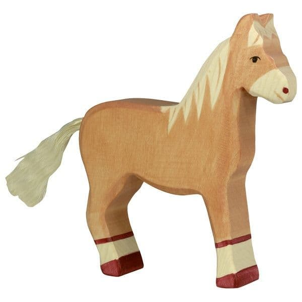 Holztiger Light Brown Standing Horse Figure