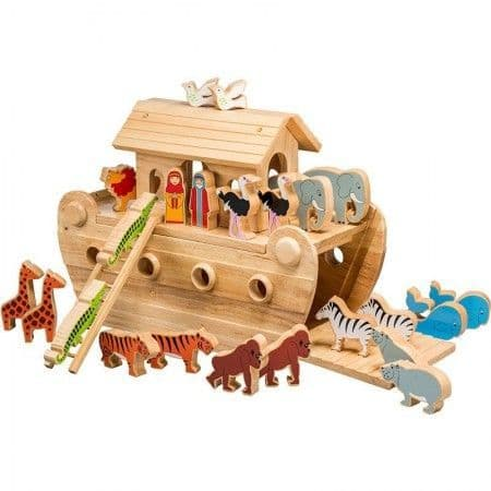 Lanka Kade Deluxe Wooden Natural Noah's Ark & 24 Coloured Wooden Figures
