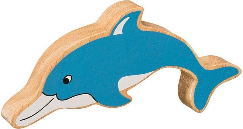 Lanka Kade Wooden Natural Blue Dolphin Figure
