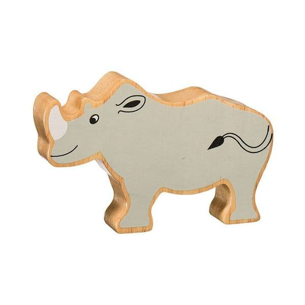 Lanka Kade Wooden Natural Grey Rhino Figure