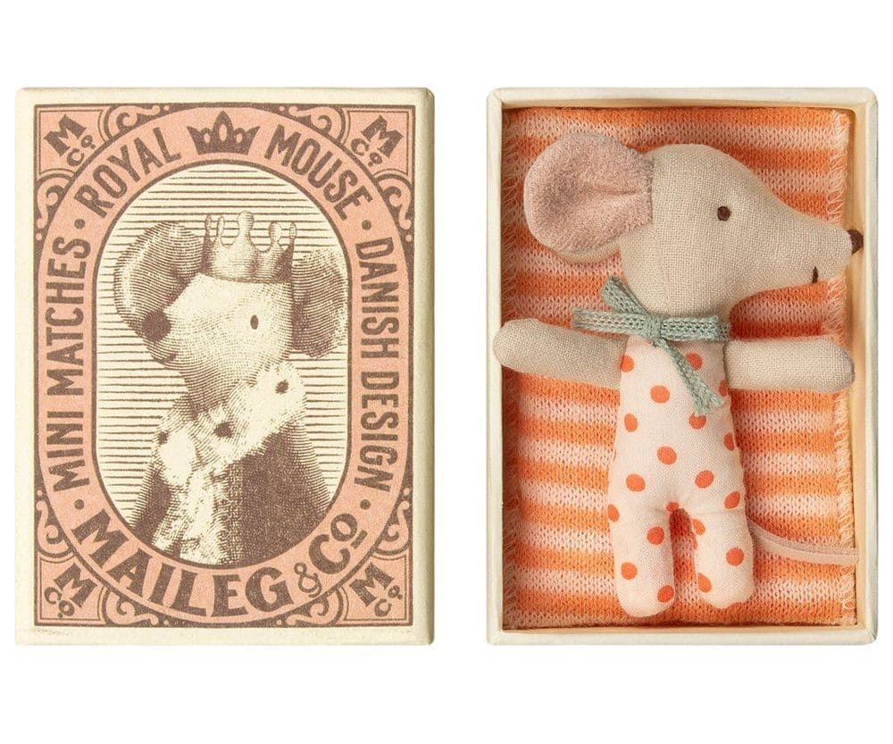 Maileg Baby Sister Mouse Sleepy/Wakey In Matchbox