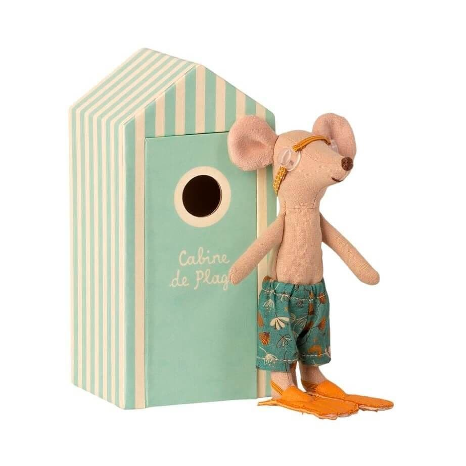 Maileg Beach Mice - Big Brother In Cabin De Plage Soft Toy