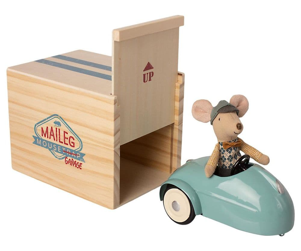 Maileg Vintage Blue Mouse Car With Garage
