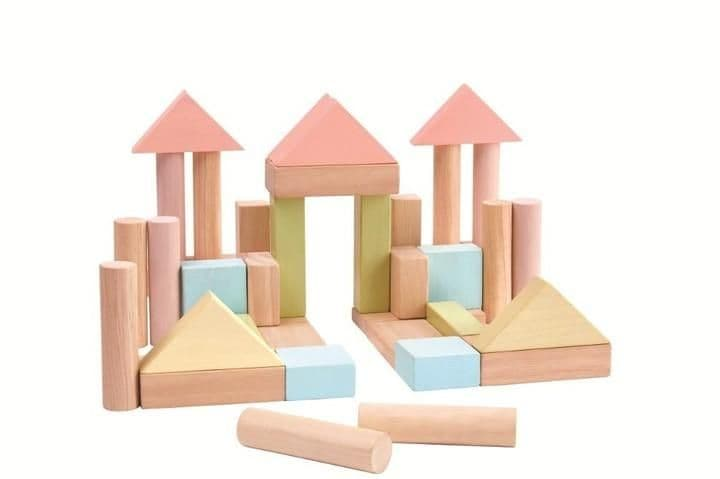 Plan Toys 40pc Pastel Wooden Building Blocks