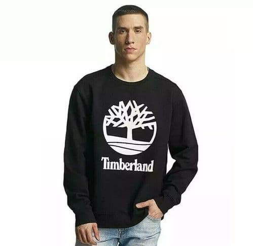Mens Timberland 90s Inspired Logo Sweatshirt Black BNWT 100% Authentic A1N4M
