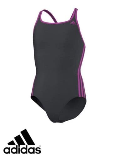 adidas Junior Girls 3S Swimming costume Brand New free 1st class post S22906