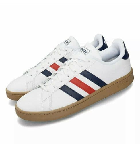 adidas Mens Grand Court White Leather Trainers Sneakers Shoes 3 Stripes EE7888