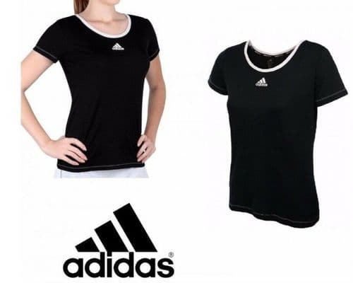 adidas performance Aspire Women's Tennis T-shirt Tee Black AI1147  BNWT free del