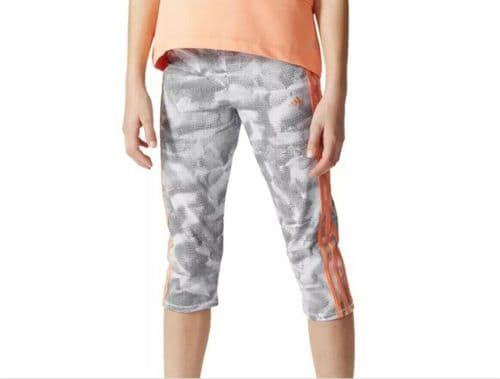 adidas YG 3S 3/4 tights for Girls White /Black AJ6549 free RM24 delivery