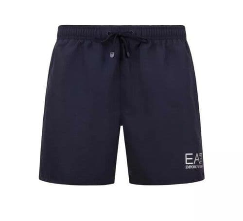 Emporio Armani EA7 Men's Swim Shorts, Navy with silver logo BNWT 100% authentic