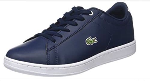 Lacoste Junior Boys Navy Blue Carnaby EVO Trainers Brand New Boxed free deliver