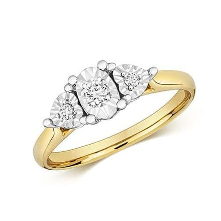 0.15 Carat Brilliant Show Stunning Diamonds Oval & 2 Hearts 3 Stone Trilogy Yellow Gold Ring
