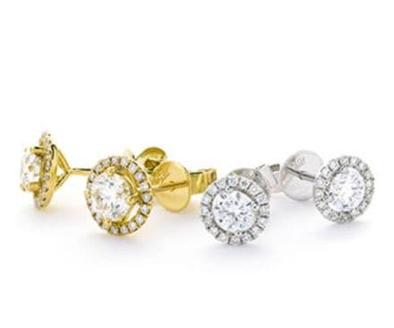 0.35 Carat G SI2 Diamond Halo Pave Sparkling Stud Earrings set in 18K White or Yellow Gold  RRP £859