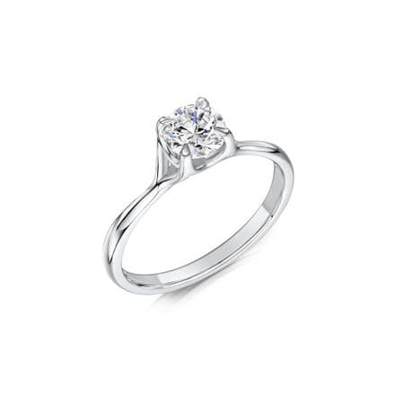0.5 Carat GIA GVS Diamond solitaire 18ct White Gold Round Cross over Engagement Ring MWSS-1206/050