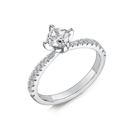 0.6 Carat GIA GVS Diamond solitaire 18ct White Gold. Cushion shaped Engagement Ring, MWSS-1186/040