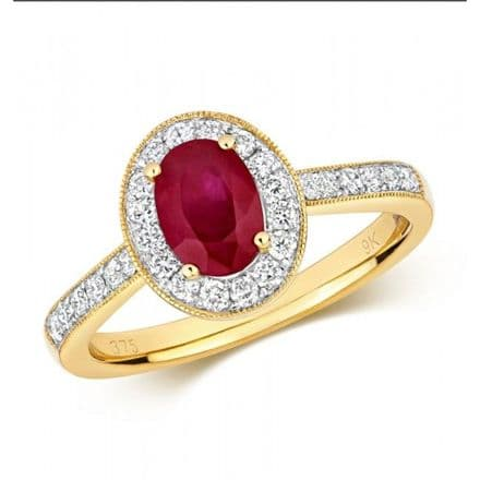 1.00 carat Ruby & Diamond Halo Pave Yellow Gold Ring , TRD417R