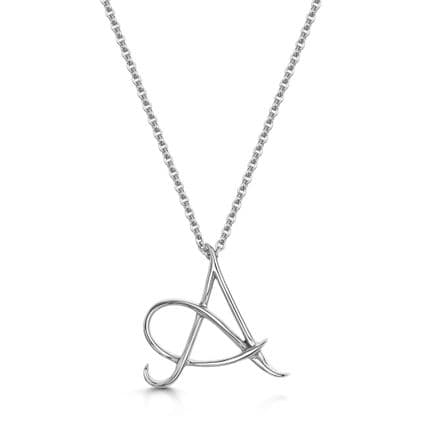 18 White Gold Initial pendant, 16 inch chain