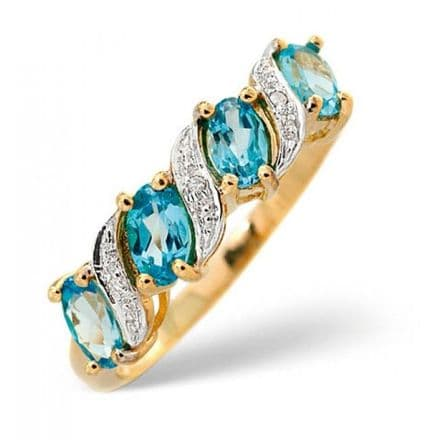 18K Gold 0.01ct Diamond & 1.05ct Blue Topaz Ring, L2176