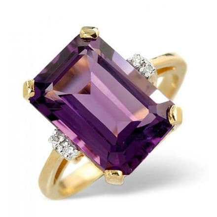 18K Gold 0.02ct Diamond & 5.90ct Amethyst Ring, L2177