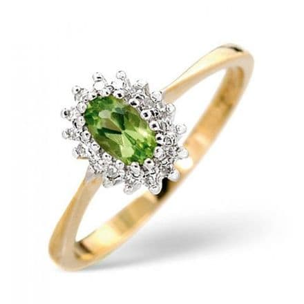 18K Gold 0.05ct Diamond & 5mm x 3mm Emerald Ring, DCR07-E