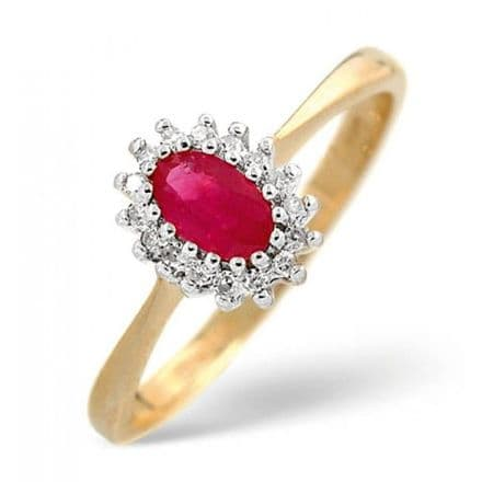 18K Gold 0.05ct Diamond & 5mm x 3mm Ruby Ring, DCR07-R