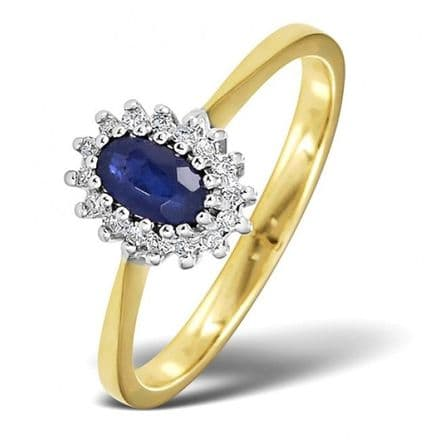 18K Gold 0.05ct Diamond & 5mm x 3mm Sapphire Ring, DCR07-S