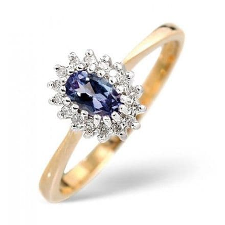 18K Gold 0.05ct Diamond & 5mm x 3mm Tanzanite Ring, DCR07-T