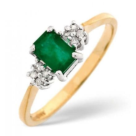 18K Gold 0.06ct Diamond & 6mm x 4mm Emerald Ring, DCR15-E