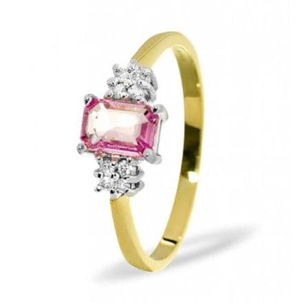 18K Gold 0.06ct Diamond & 6mm x 4mm Pink Sapphire Ring, DCR15-PS