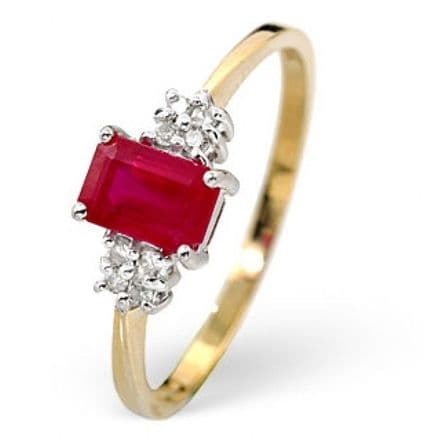 18K Gold 0.06ct Diamond & 6mm x 4mm Ruby Ring, DCR15-R