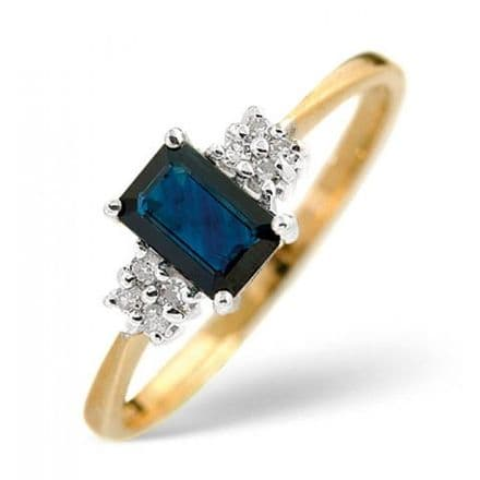 18K Gold 0.06ct Diamond & 6mm x 4mm Sapphire Ring, DCR15-S
