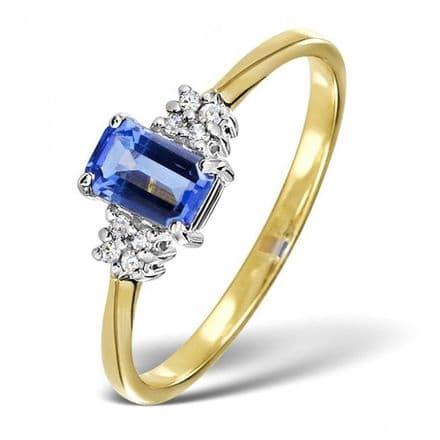 18K Gold 0.06ct Diamond & 6mm x 4mm Tanzanite Ring, DCR15-T