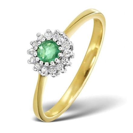 18K Gold 0.07ct Diamond & 3.5mm Emerald Ring, DCR06-E
