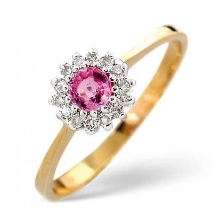 18K Gold 0.07ct Diamond & 3.5mm Pink Sapphire Ring, DCR06-PS