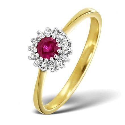18K Gold 0.07ct Diamond & 3.5mm Ruby Ring, DCR06-R