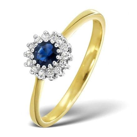 18K Gold 0.07ct Diamond & 3.5mm Sapphire Ring, DCR06-S